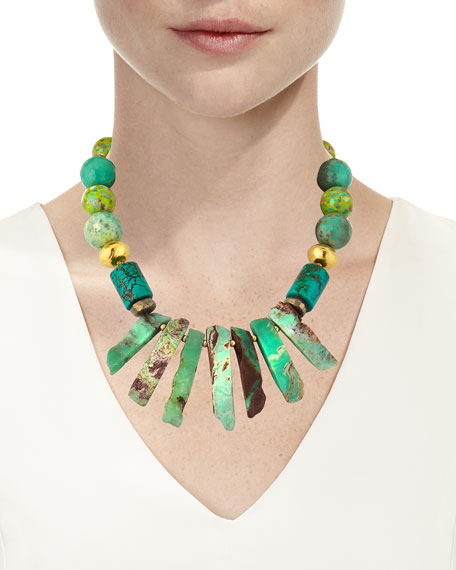 Turquoise Round & Spike Necklace