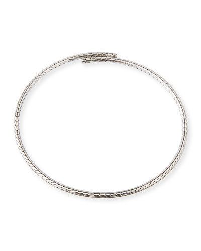 Classic Chain Silver Coil Choker Necklace