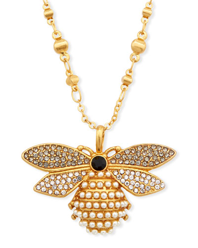 Pearly Bee Pendant Necklace