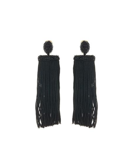 Silk Waterfall Tassel Clip-On Earrings