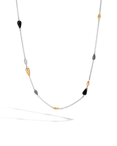 Classic Chain Droplet Necklace w/ 18k Gold & Diamonds