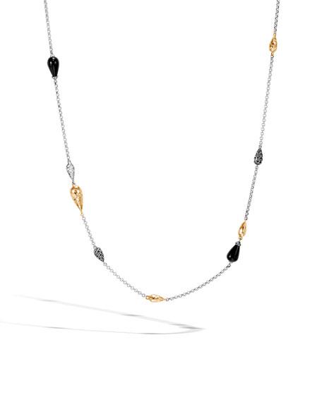 John Hardy CLASSIC CHAIN DROPLET NECKLACE W/ 18K GOLD & DIAMONDS