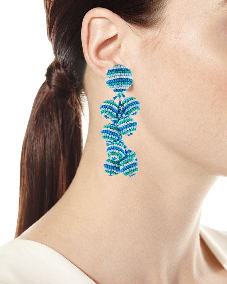 Rainbow Coconut Beaded Clip-On Earrings