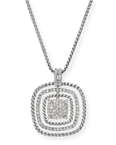Chatelaine Silver Diamond Pave Pendant Necklace
