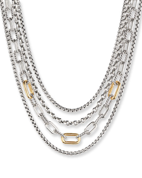 David Yurman 4-Row Mixed Chain Bib Necklace