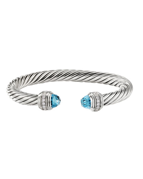 Image 3 of 3: David Yurman 7mm Cable Bracelet with Diamonds & Topaz