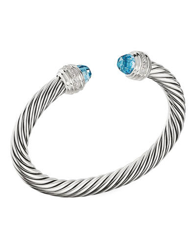 Cable Bracelet w/ Diamonds & Topaz