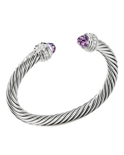 Cable Bracelet w/ Diamonds & Amethyst
