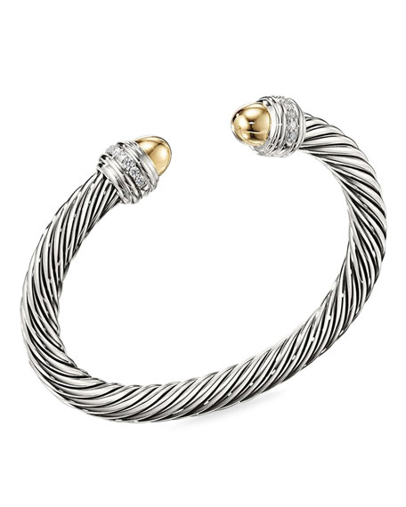 David Yurman Cable Bracelet w/ Diamonds & 14k