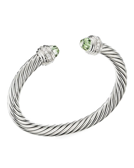 David Yurman Cable Bracelet w/ Diamonds & Prasiolite