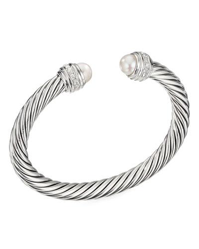 Cable Bracelet w/ Diamonds & Pearls