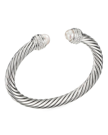 David Yurman Cable Bracelet w/ Diamonds & Pearls