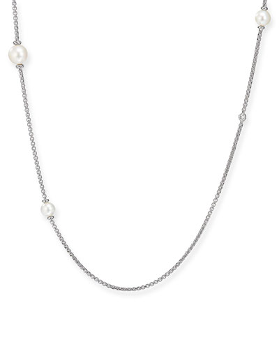Long Pearl & Diamond Chain Necklace  42L