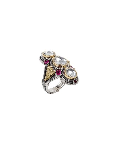 Konstantino Pythia Triple Crystal & Corundum Ring