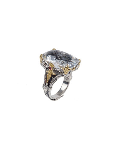 Pythia Crystal & Corundum Rectangle Ring