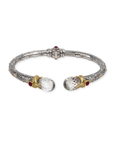 Crystal Corundum & Garnet Kick Cuff Bracelet
