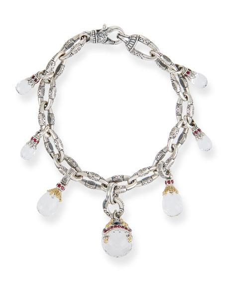 Konstantino Pythia Silver Crystal Charm Bracelet