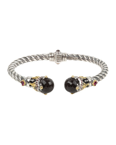 Fluted Crystal Corundum & Garnet Kick Cuff Bracelet