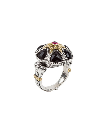 Pythia Crystal, Corundum, Sterling Silver & 18K Yellow Gold Cocktail Ring