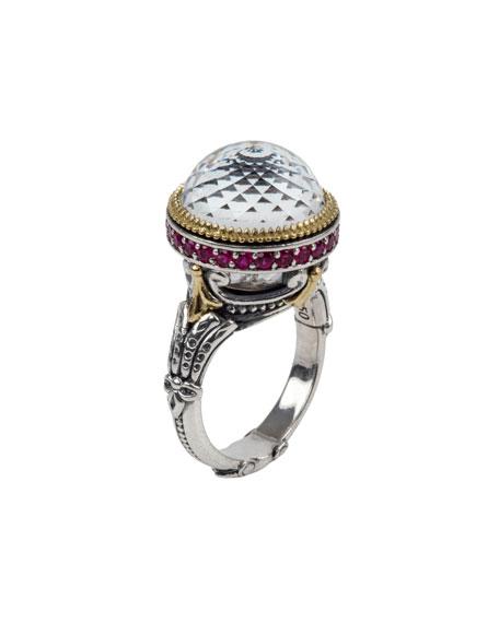 Konstantino Pythia Crystal Amp Corundum Ring Neiman Marcus