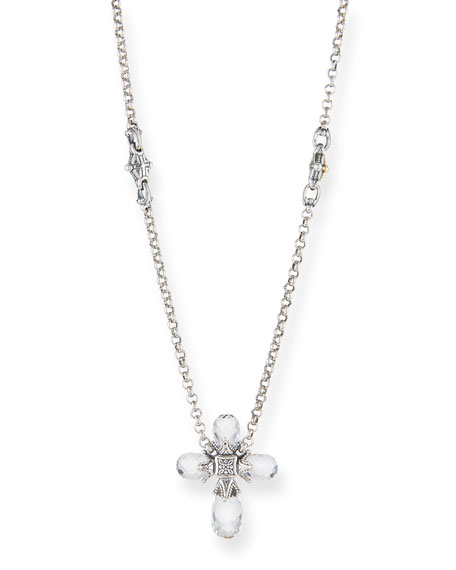 Konstantino PYTHIA CRYSTAL CROSS PENDANT NECKLACE