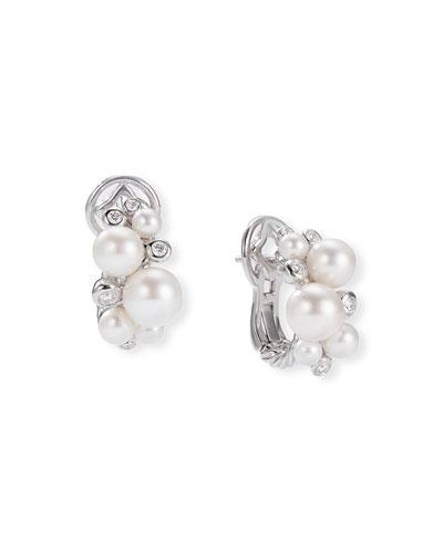 Pearl & Diamond Cluster Huggie Earrings