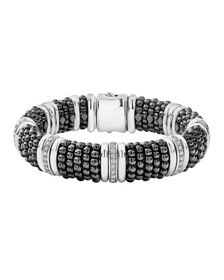 Lagos Black Caviar Silver Diamond Link Bracelet, 15mm,
