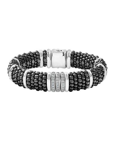 Black Caviar Diamond Link Bracelet, 15mm