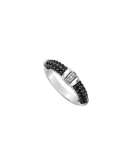 Lagos Black Caviar Diamond Tapered Ring, 3mm