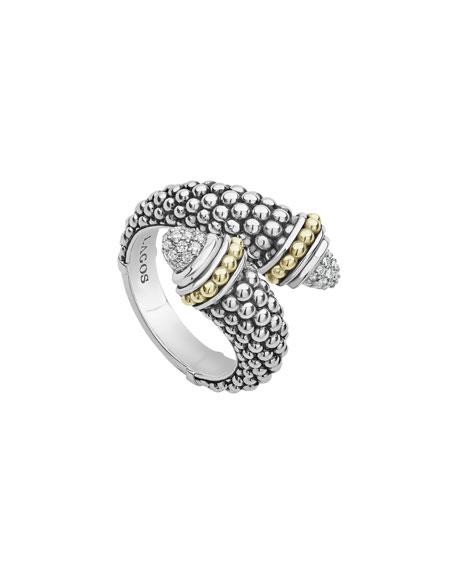 LAGOS SIGNATURE CAVIAR & DIAMOND PAVE CROSSOVER RING