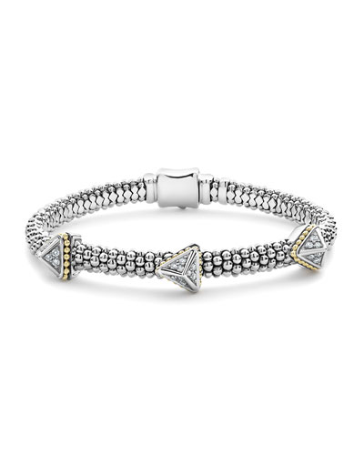 KSL Lux Diamond Silver & 18k Gold Triple Pyramid Bracelet