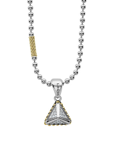 KSL Lux Diamond Silver & 18k Gold Pyramid Pendant Necklace