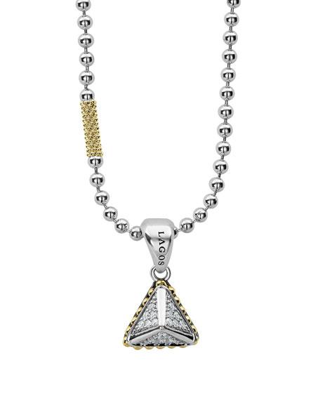 Ksl Lux Diamond Silver & 18K Gold Pyramid Pendant Necklace, Yellow/Gray