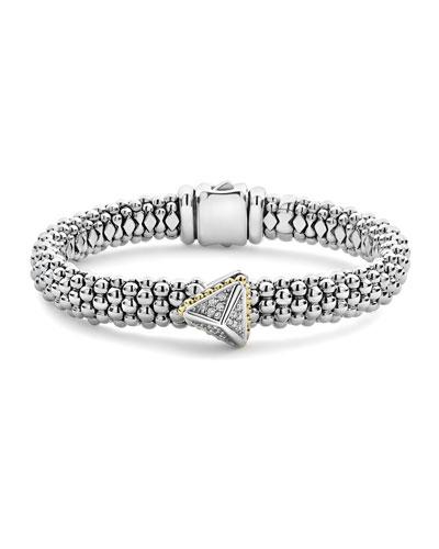 KSL Lux Diamond Silver & 18k Gold Pyramid Bracelet