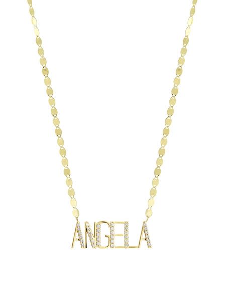 Lana GOLD PERSONALIZED SIX-LETTER PENDANT NECKLACE W/ DIAMONDS