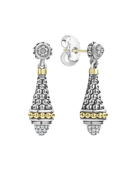 Lagos Silver & 18k Gold Caviar Diamond Drop