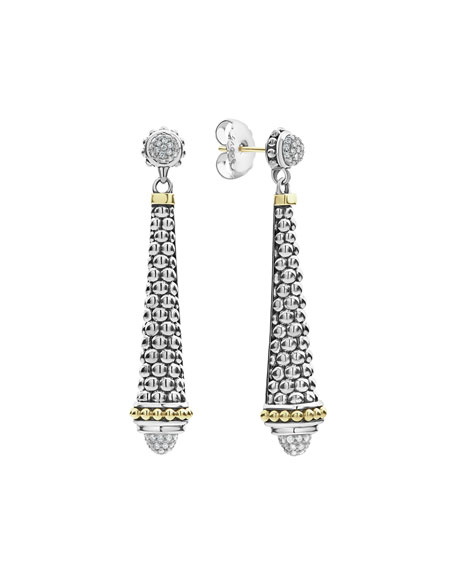 "Silver & 18k Gold Caviar Diamond Drop Earrings, 2""L"
