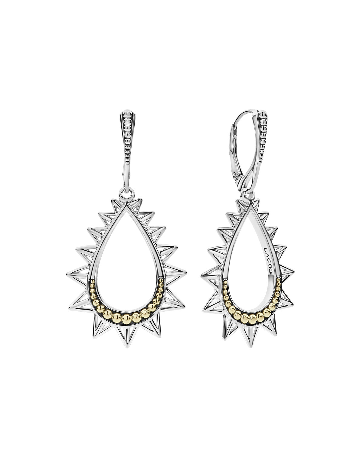 Ksl Silver 18k Gold Spiked Pear Drop Earrings