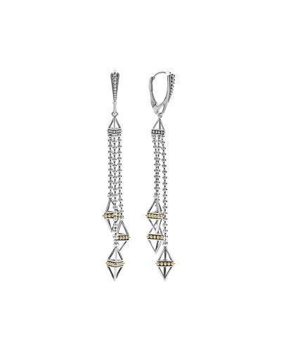 KSL Silver & 18k Gold Triple Pyramid Tassel Earrings