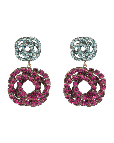Dannijo Chrysanthe Berry Crystal Drop Earrings