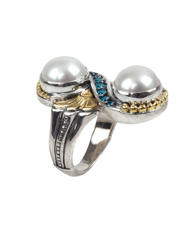 Thalia 2-Pearl & Blue Spinel Ring  Size 7