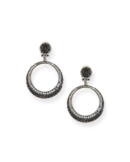 JOSE & MARIA BARRERA Hematite Crystal Hoop Drop Earrings in Black