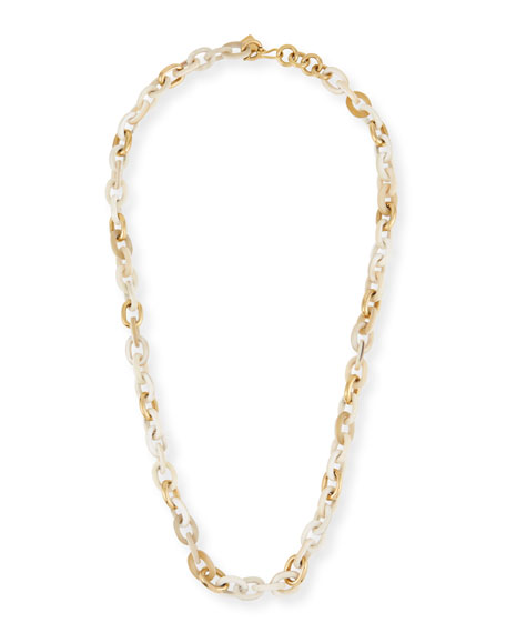 """Meli Light Horn & Bronze Link Necklace, 32""""L"""