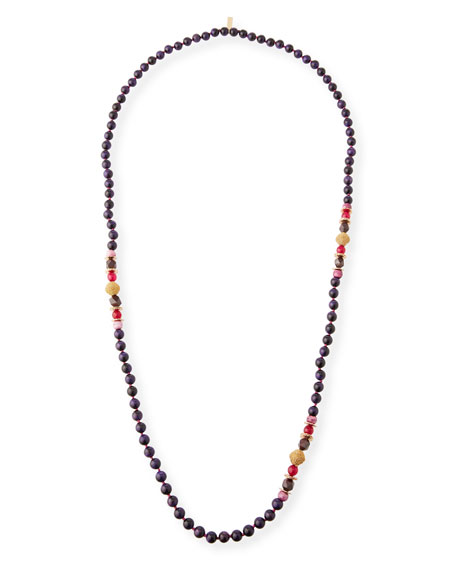 Akola Plum Beaded Single-Strand Necklace