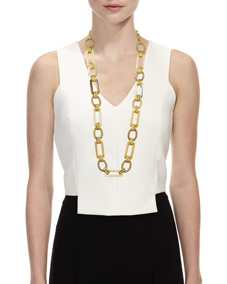 "Light Horn & Bronze Link Necklace, 38""L"