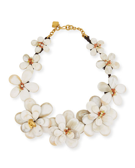 Light Horn Flower Collar Necklace with Stones