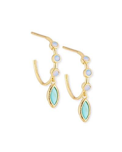 Opal Hoop Earrings w/ Drop