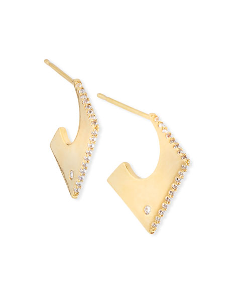 TAI Abstract Square Huggie Earrings in Gold