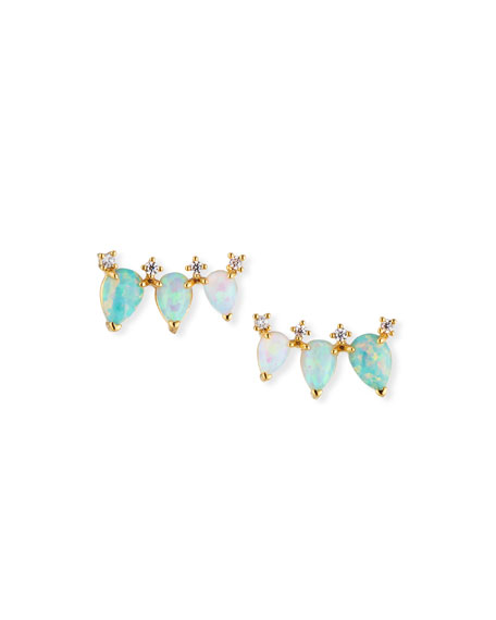 TAI Opal Trio Earrings in Gold