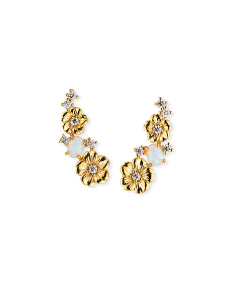 TAI Floral Opal Ear Climber Earrings in Gold